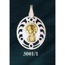 Virgen niña en plata y oro - oval nº1