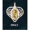 Virgen niña en plata y oro - corazón nº1