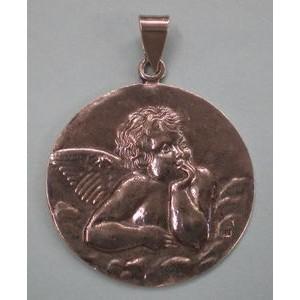 Medalla relieve ángel, envejecida