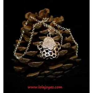 Colgante flor y cadena - Plata  -