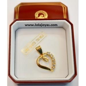 Colgante Oro  - corazón circonitas -