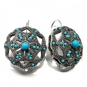 Pendientes plata - roseta piedra azul