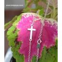 Gargantilla cruz horizontal - plata de ley -
