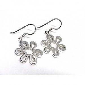 Pendientes flor en plata , gancho