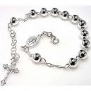 Pulsera de rosario en plata - bolitas talladas