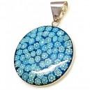 Colgante cristal de murano y plata - circulo flores colores