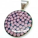 Colgante cristal de murano y plata - circulo flores azul