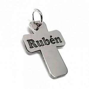 Colgante cruz plata - nombre personalizado
