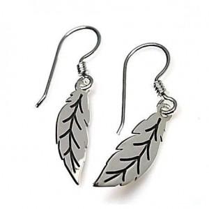 Pendientes plumas en plata