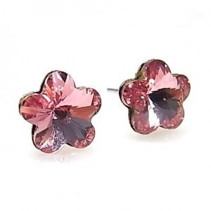Pendientes swarovski rosa claro - flor
