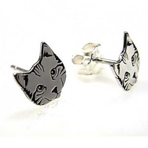 Pendientes gato - plata