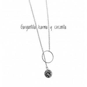 Gargantilla Karma y circonita . corbatera plata