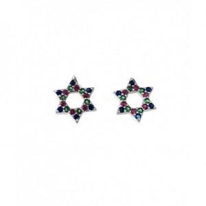 Pendientes de estrella, modelo 2 - plata y circonitas