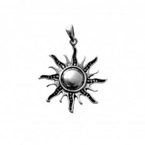 Colgante Sol - plata de ley oxidada