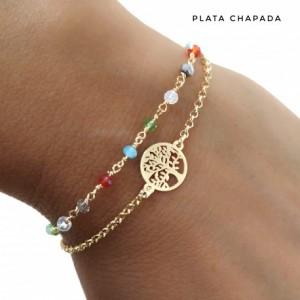 Pulsera plata chapada doble. árbol de la vida y piedras de colores