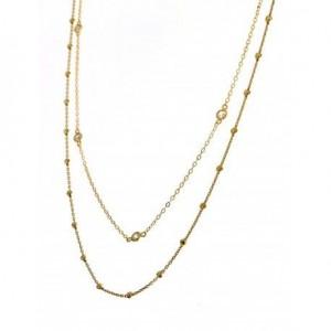 Gargantilla doble con bolitas y puntos de luz - plata chapada en oro