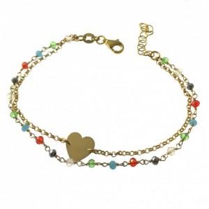 Pulsera plata chapada doble. corazón y piedras de colores