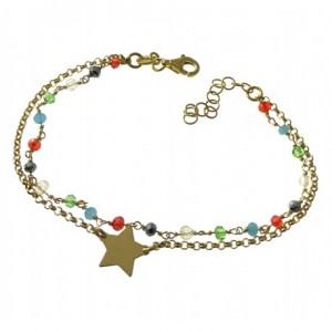 Pulsera plata chapada doble. estrella y piedras de colores