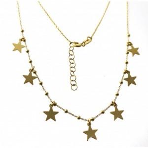 Gargantilla estrellas de plata chapada en oro