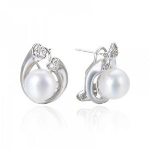 Pendientes con perlas y circonitas - cierre omega