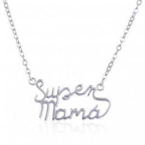 Gargantilla Super mamá - plata de ley rodiada