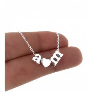 Gargantilla iniciales y corazón en plata