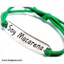 Pulsera SOY MACARENA - Plata de ley con goma adaptable