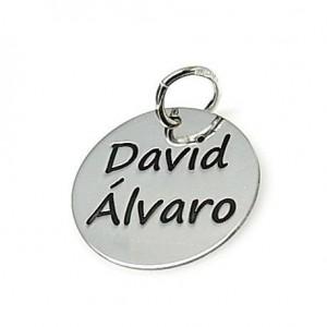 Colgante chapa de plata con nombres